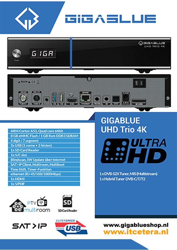 Gigablue UHD Trio 4K Satelliet én Kabel ontvanger